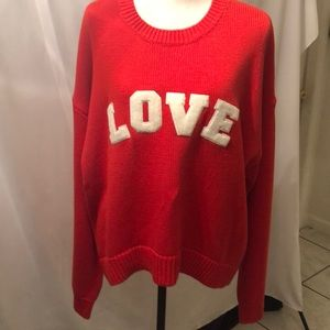 Tory Burch Sport Red Crew Sweater